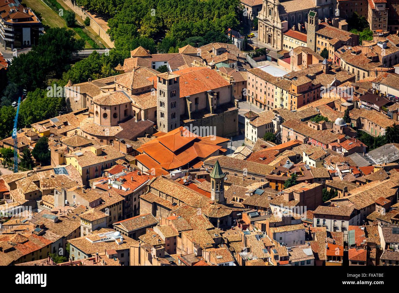 Altstadt, Catedral de Sant Pere de Vic, Vic, Costa Brava, Catalonia, Spain Europe, aerial view, birds-eyes view, - Stock Image