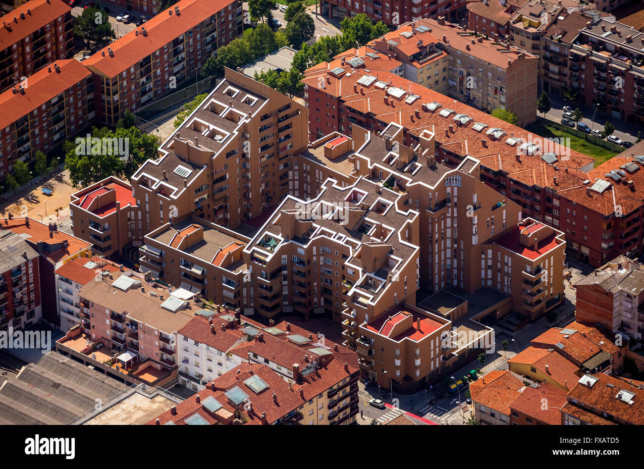 Aerial view, terrace house, Vic, Costa Brava, Catalonia, Spain Europe, aerial view, birds-eyes view, aerial view, - Stock Image