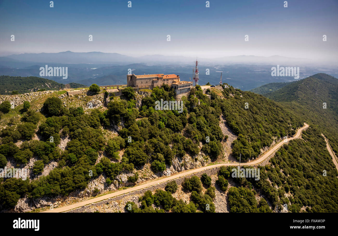 Aerial, Monastery Mare de Deu del Mont, Monastery of Our Lady of Mount, Beuda, Costa Brava, Catalonia, Spain, Europe, - Stock Image