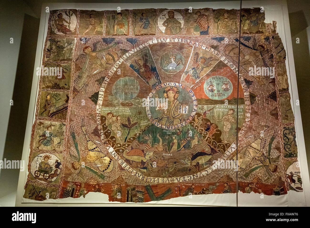 tapis de la creació, creation carpet from the 11th century, Santa Maria Cathedral of Gerona, the center of - Stock Image