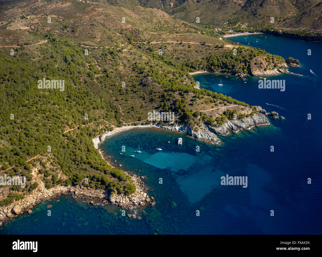 Aerial view, bays for boats and divers, Mediterranean Bay of Roses, blue water, Roses, Costa Brava, Catalonia, Spain, - Stock Image