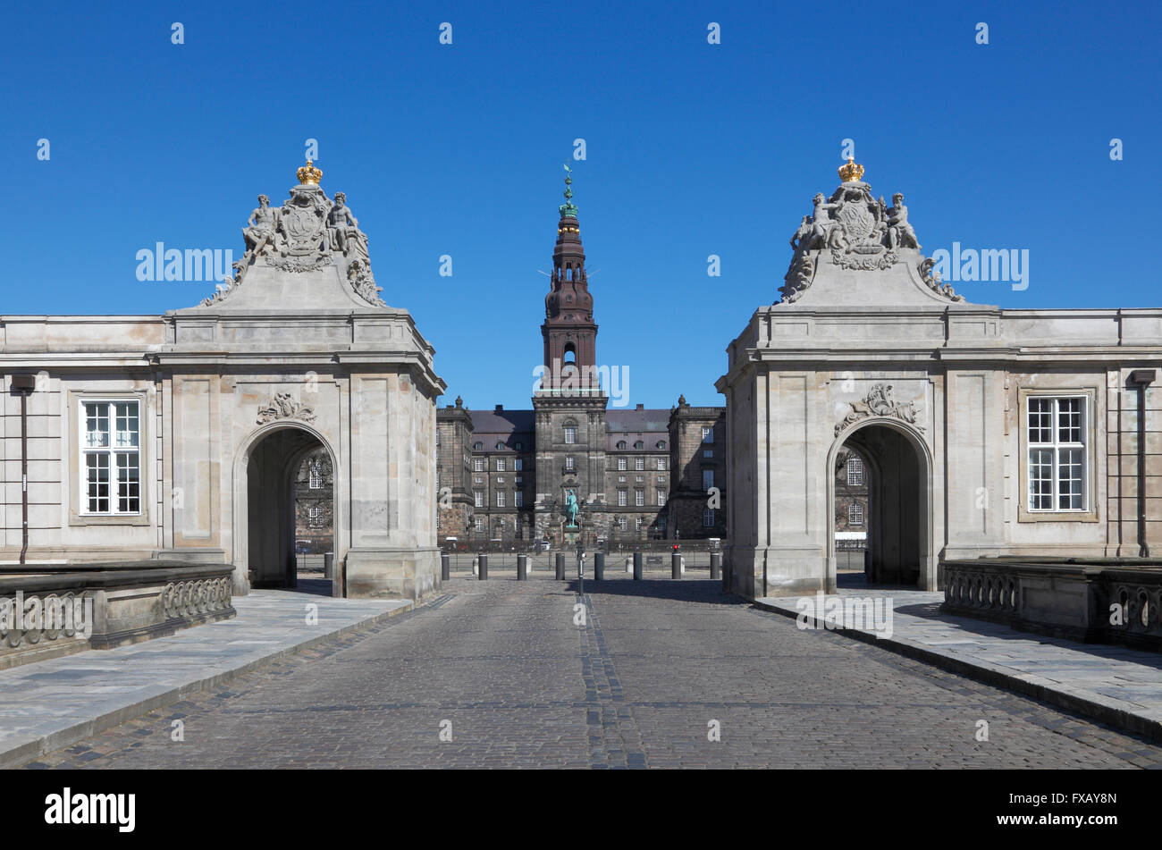 Christiansborg Castle and the two pavilions - The Danish Parliament building in Copenhagen, Denmark - home of the - Stock Image