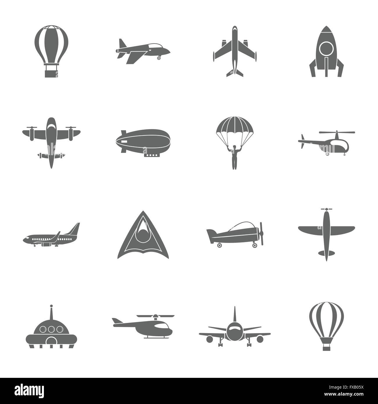 Aircraft icons set black - Stock Image