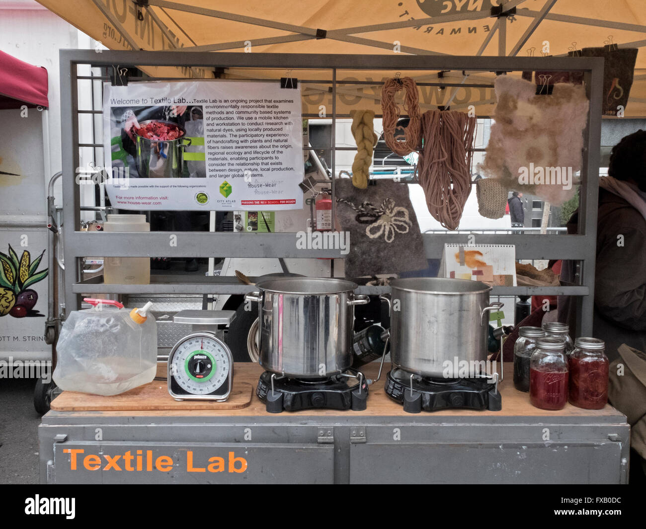 The New School Mobile Textile Lab exhibition of methods for natural & environmentally friendly textile production. - Stock Image