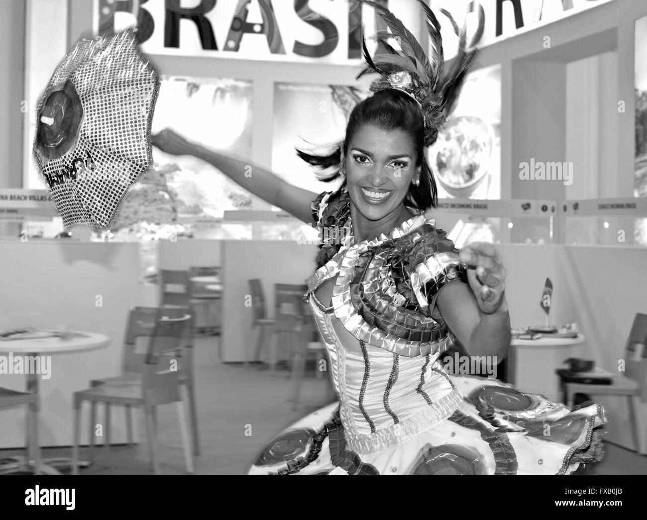 Brazilian  dancer performing traditional Pernambuco dance Frevo at Tourism Fair in Lisbon - Stock Image