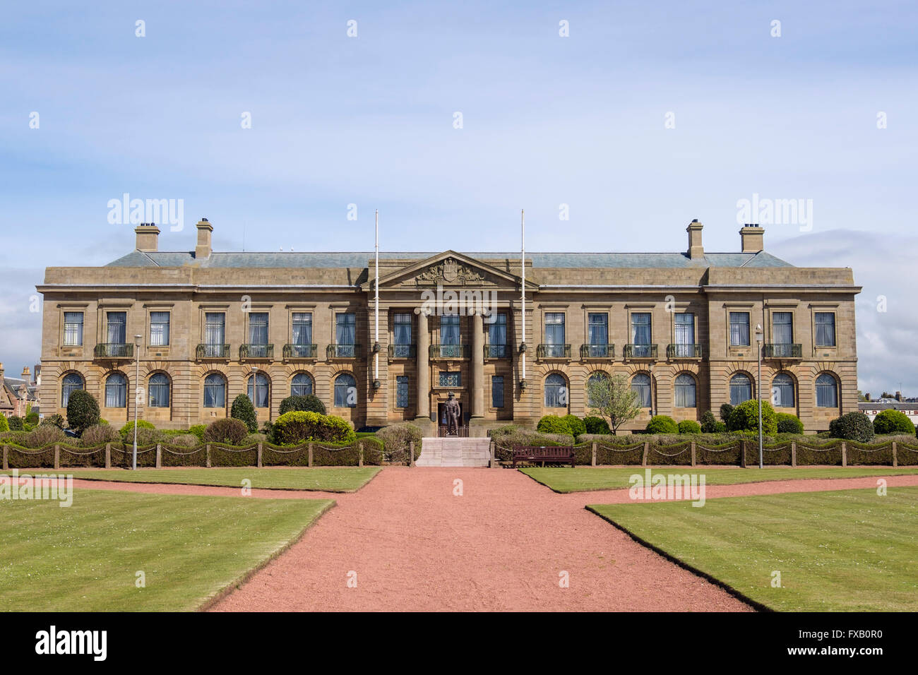 County Hall Buildings and Sheriff Court from Place de Saint-Germain-En-Laye, Ayr, South Ayrshire, Strathclyde, Scotland, - Stock Image