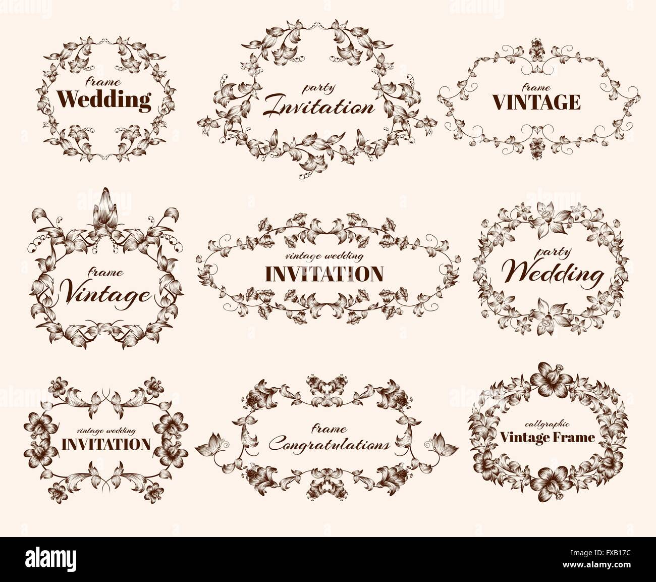 Vintage calligraphic frames - Stock Image