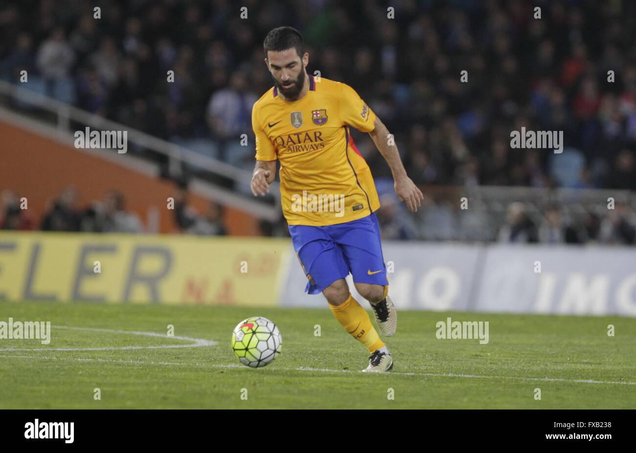 Arda Turan Barcelona in action during the La Liga match espagolde Real Sociedad - FC Barcelona at Anoeta Stadium - Stock Image