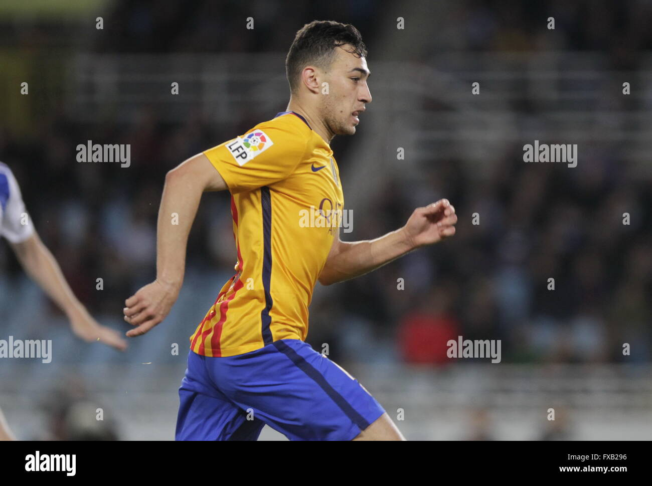 Munir   Barcelona in action during the La Liga match espagolde Real Sociedad - FC Barcelona at Anoeta Stadium - Stock Image