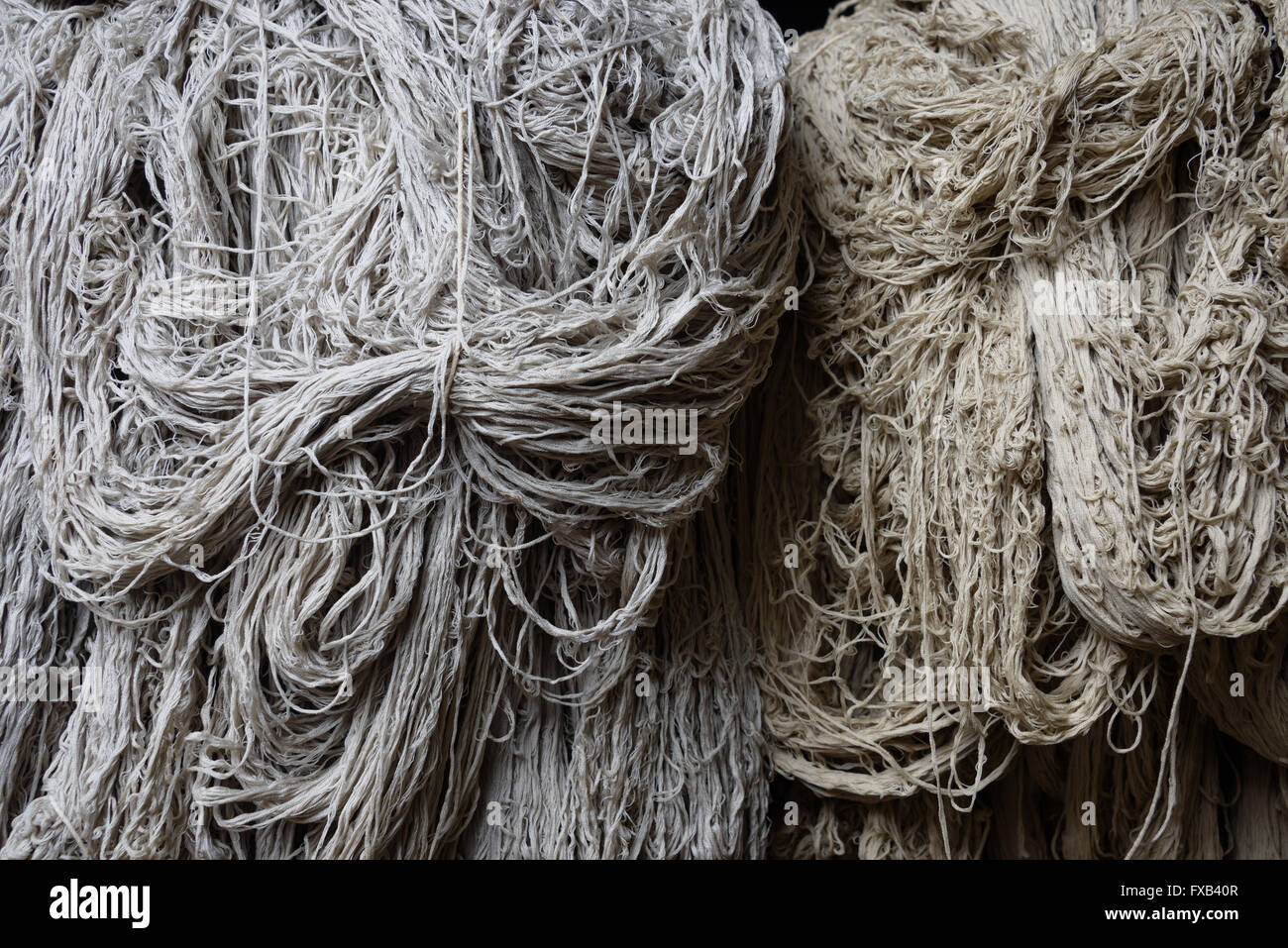 Hip of wool in a rug factory - Stock Image
