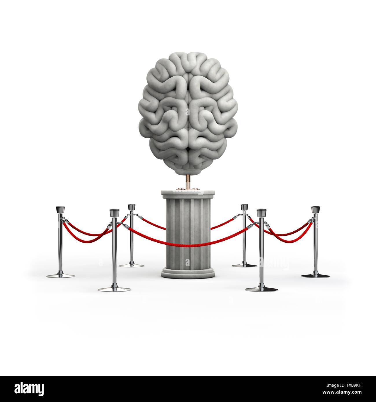 The brain exhibit / 3D render of brain sculpture - Stock Image