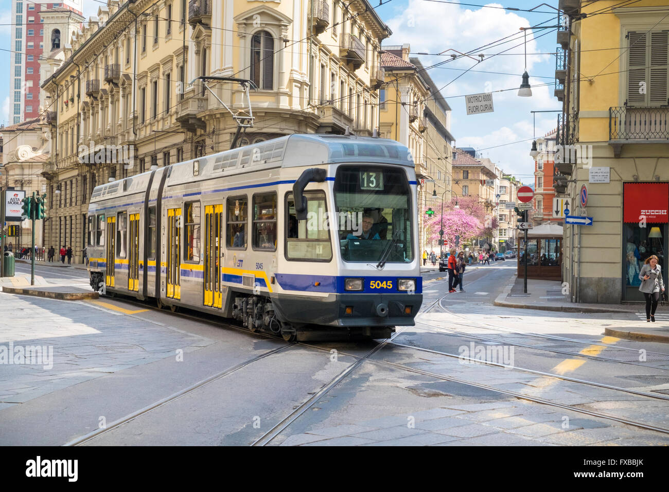Trams in Turin, Piedmont, Italy - Stock Image