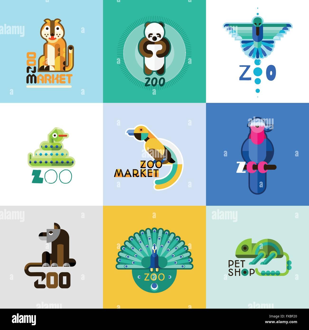 zoo logo set stock vector art illustration vector image