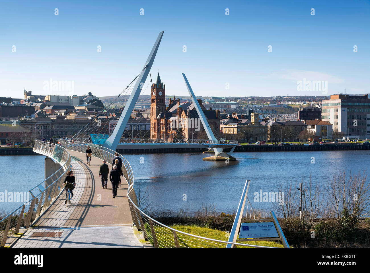 Peace Bridge Derry City Northern Ireland Foyle - Stock Image