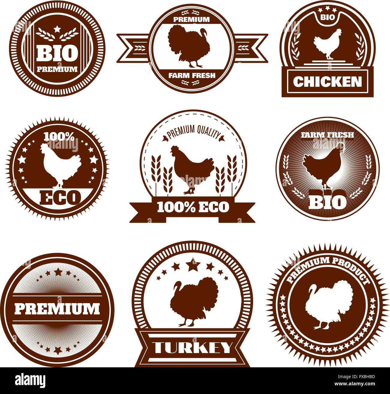 Eco farm chicken turkey emblems - Stock Vector