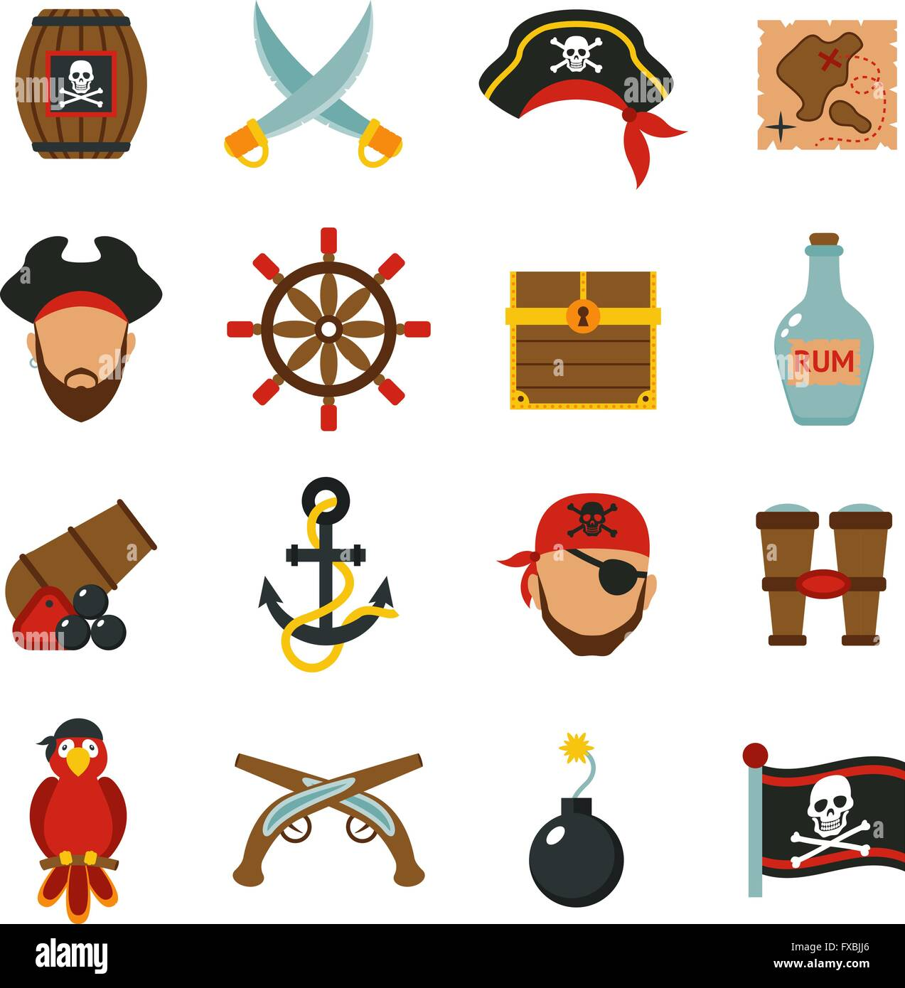 Pirate icons set flat Stock Vector Art & Illustration, Vector Image