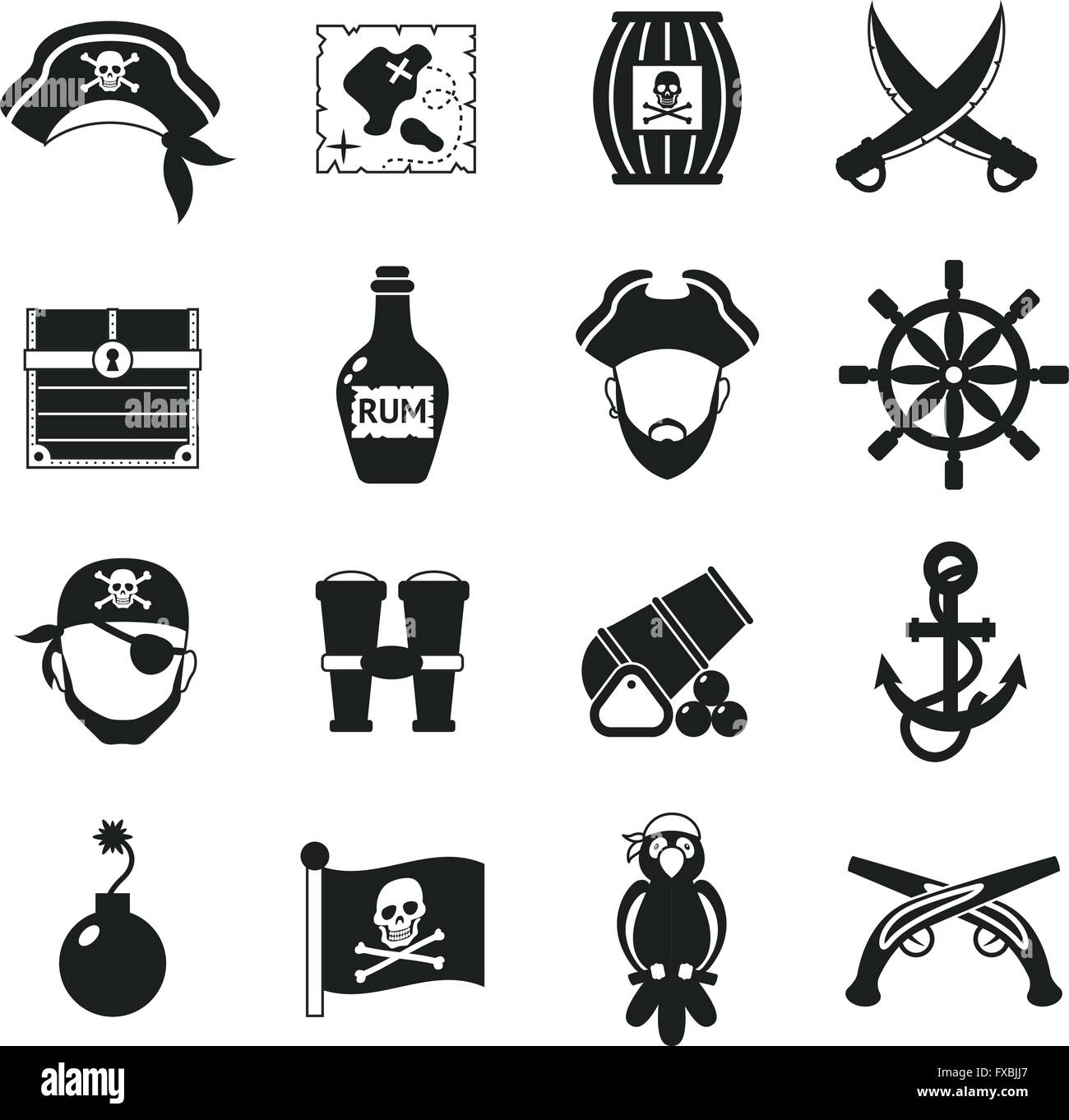 Pirate icons set black Stock Vector Art & Illustration