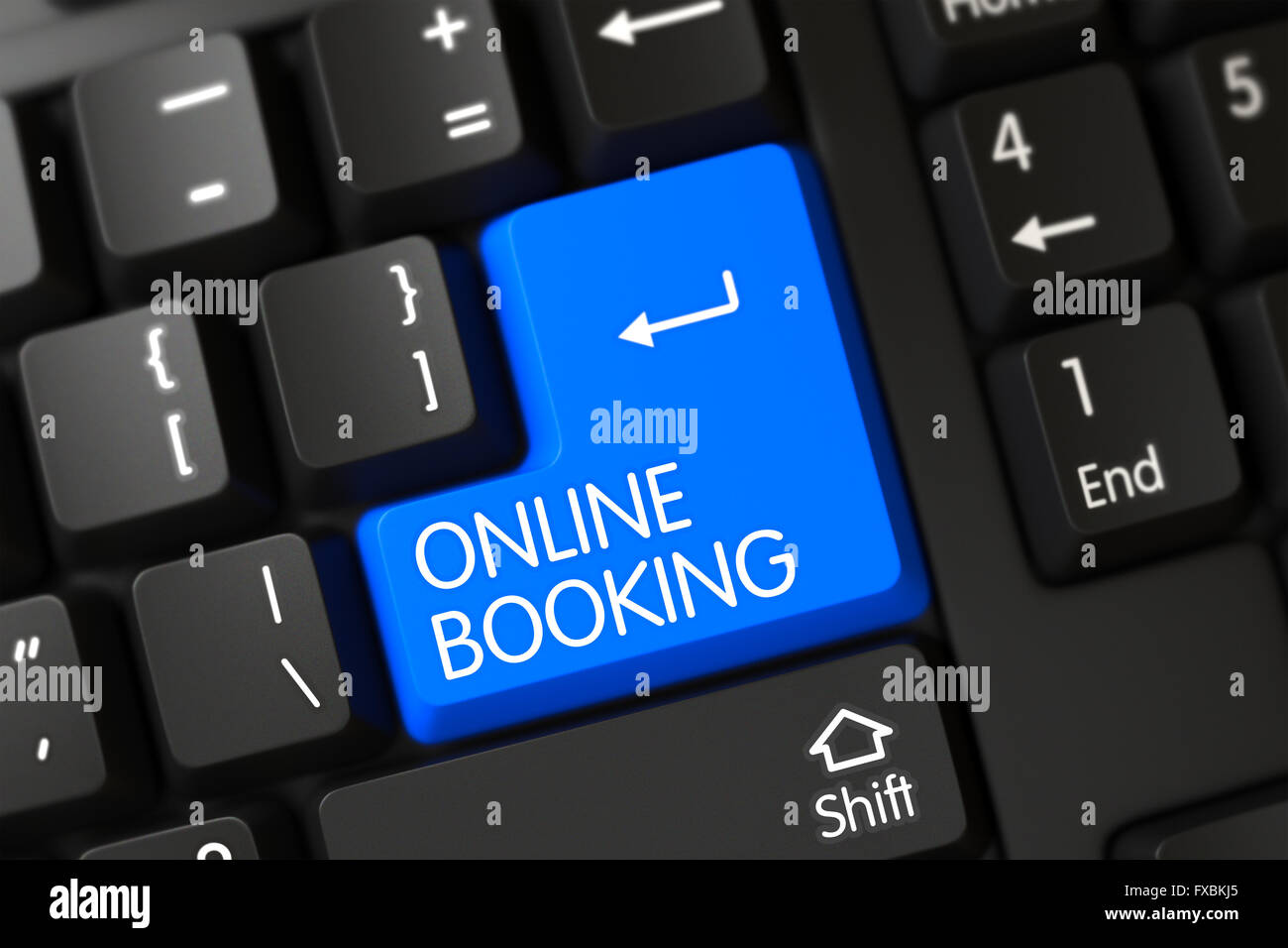 Keyboard with Blue Key - Online Booking. - Stock Image