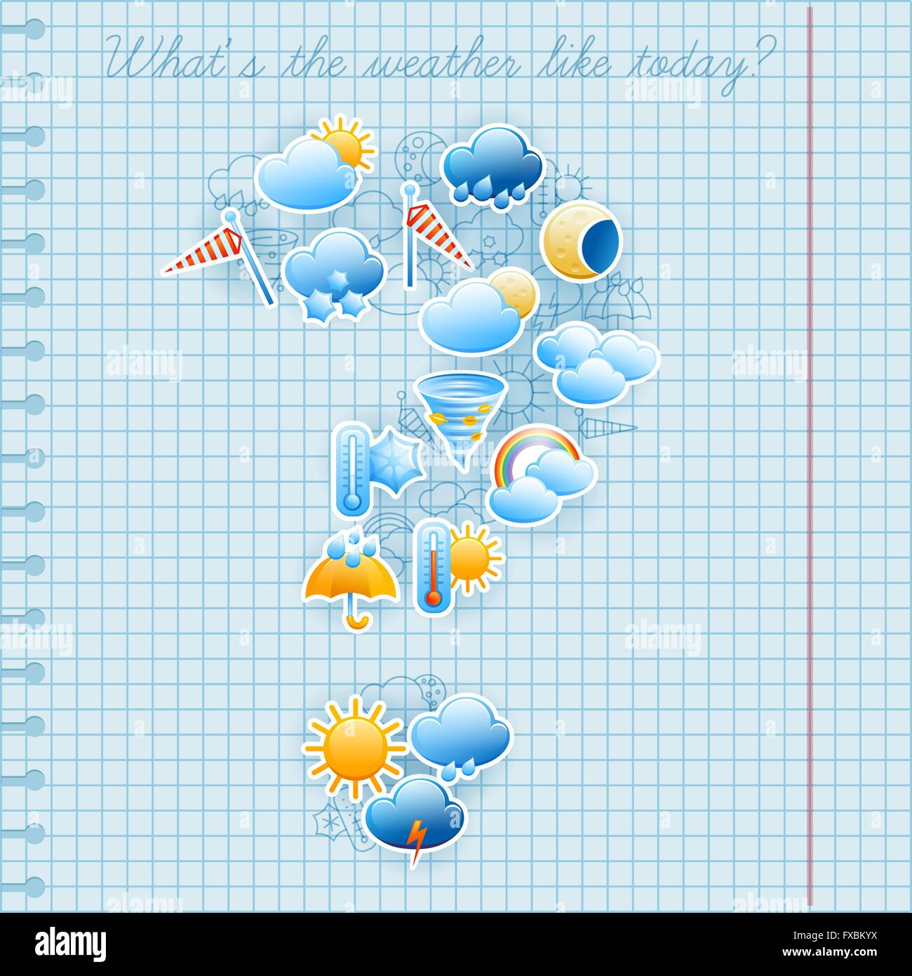 School notebook page weather forecast concept - Stock Vector