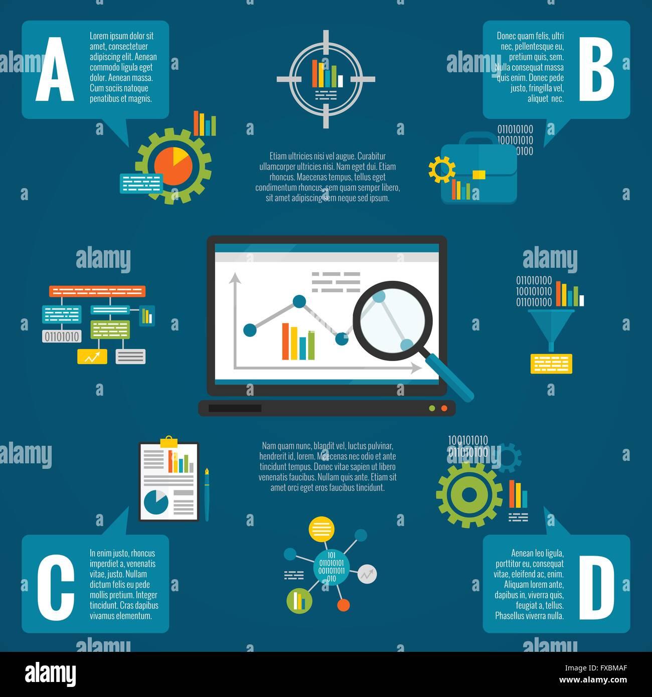 Data analytics infographic set - Stock Image