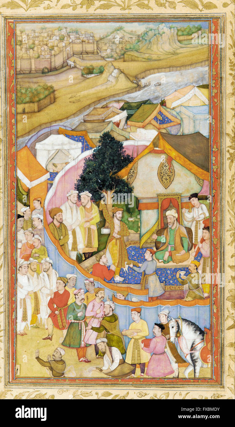 Da'ud Receives a Robe of Honor from Mun'im Khan -  Freer Gallery of Art - Stock Image