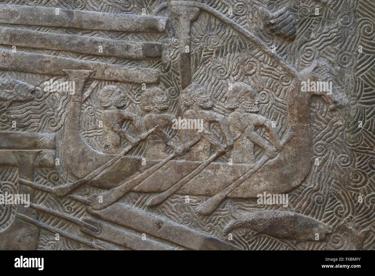 Slab. Transportation of timber (cedars of Lebanon, Phoenician civilization). Transport ships. Palace of Sargon II, - Stock Image