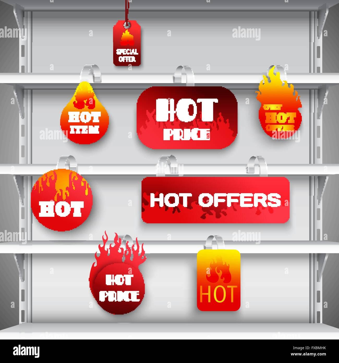 Hot sale rack wobblers print - Stock Vector