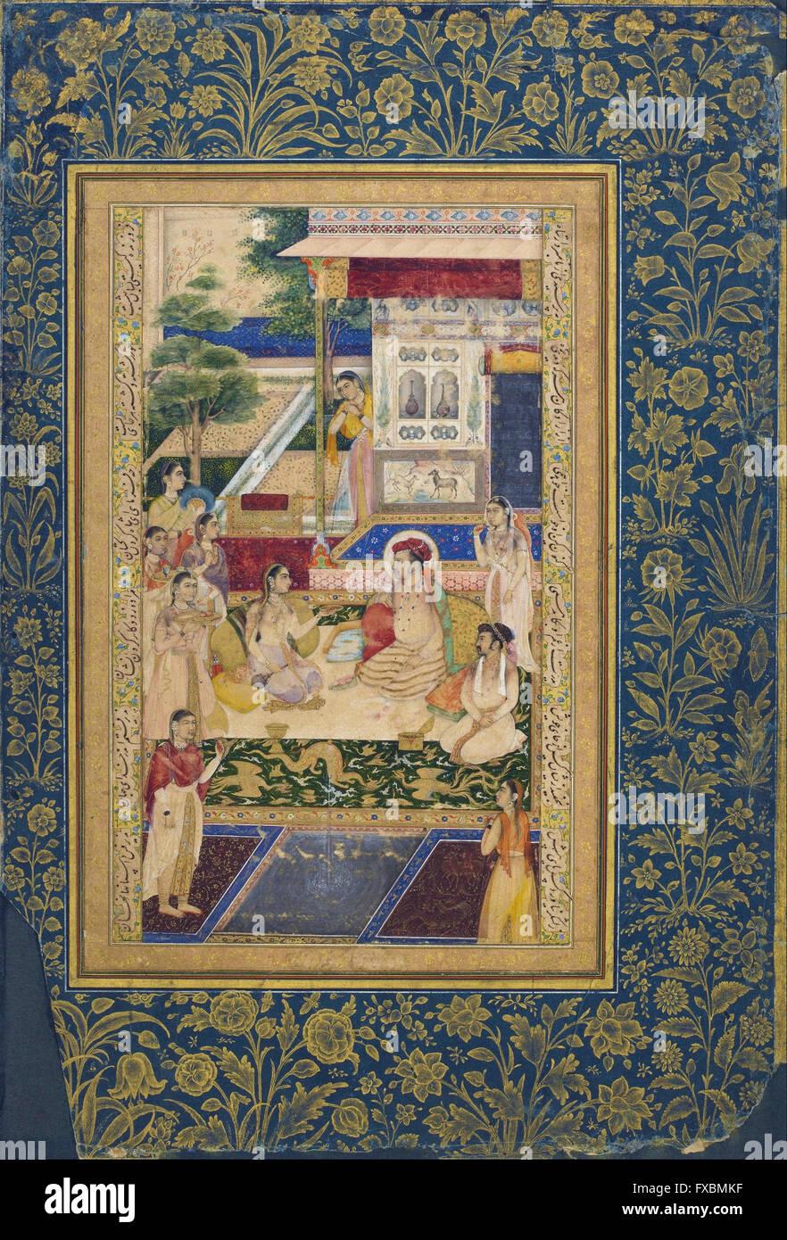 Jahangir and Prince Khurram feasted by Nur Jahan -  Freer Gallery of Art - Stock Image