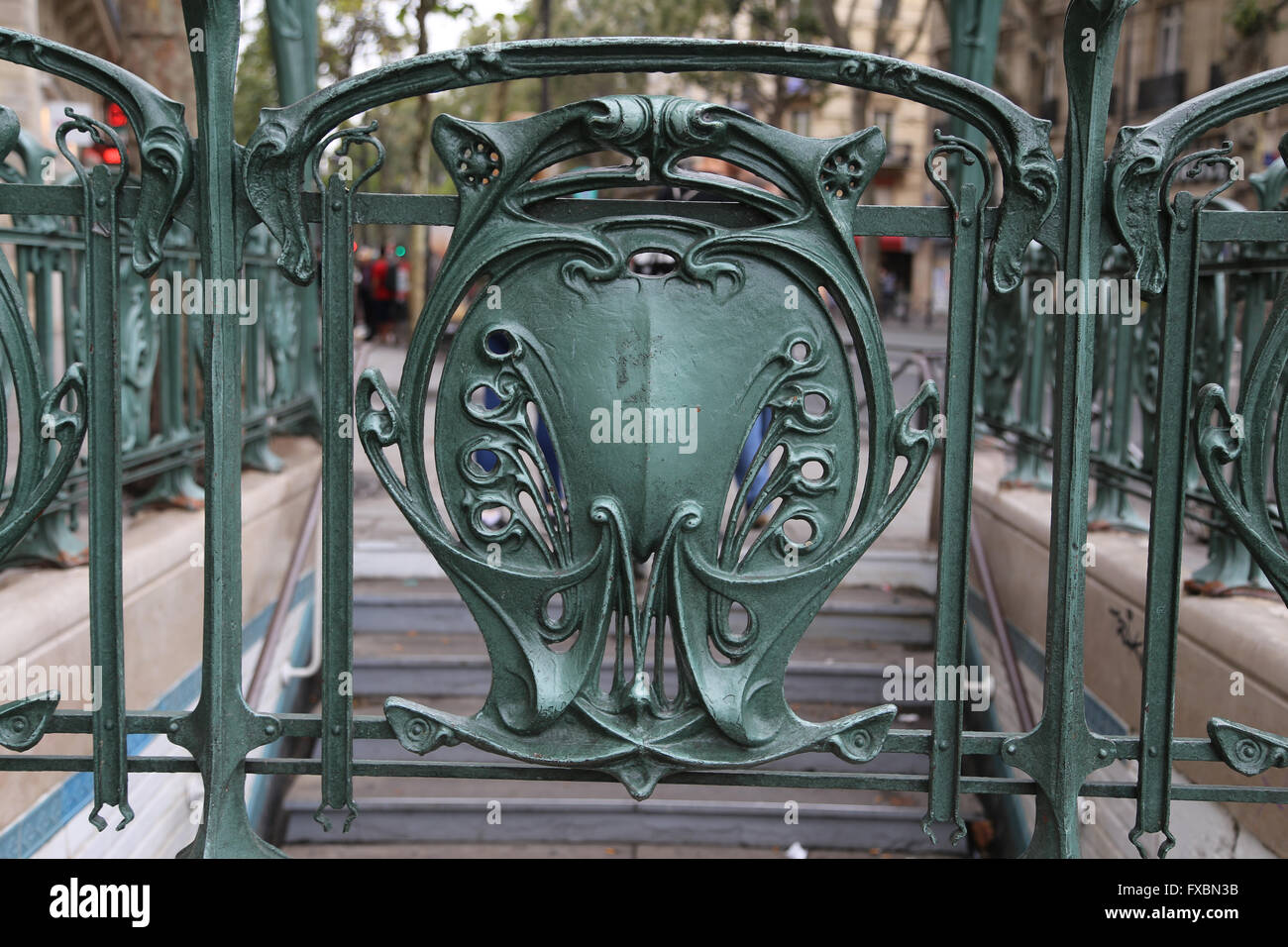 Metro station of Paris, designed by Hector Guimard (1867-1942). Art Nouveau. Paris. France. - Stock Image