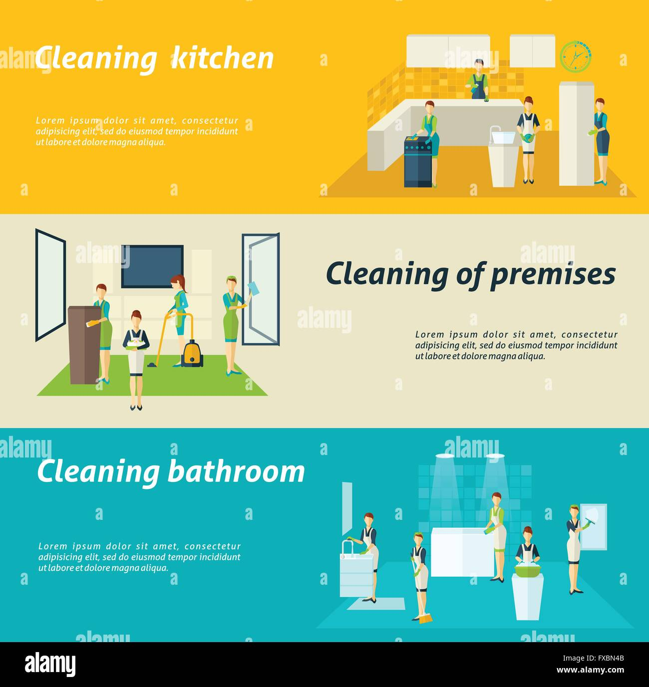 Cleaning In Rooms Flat Banners Set - Stock Vector