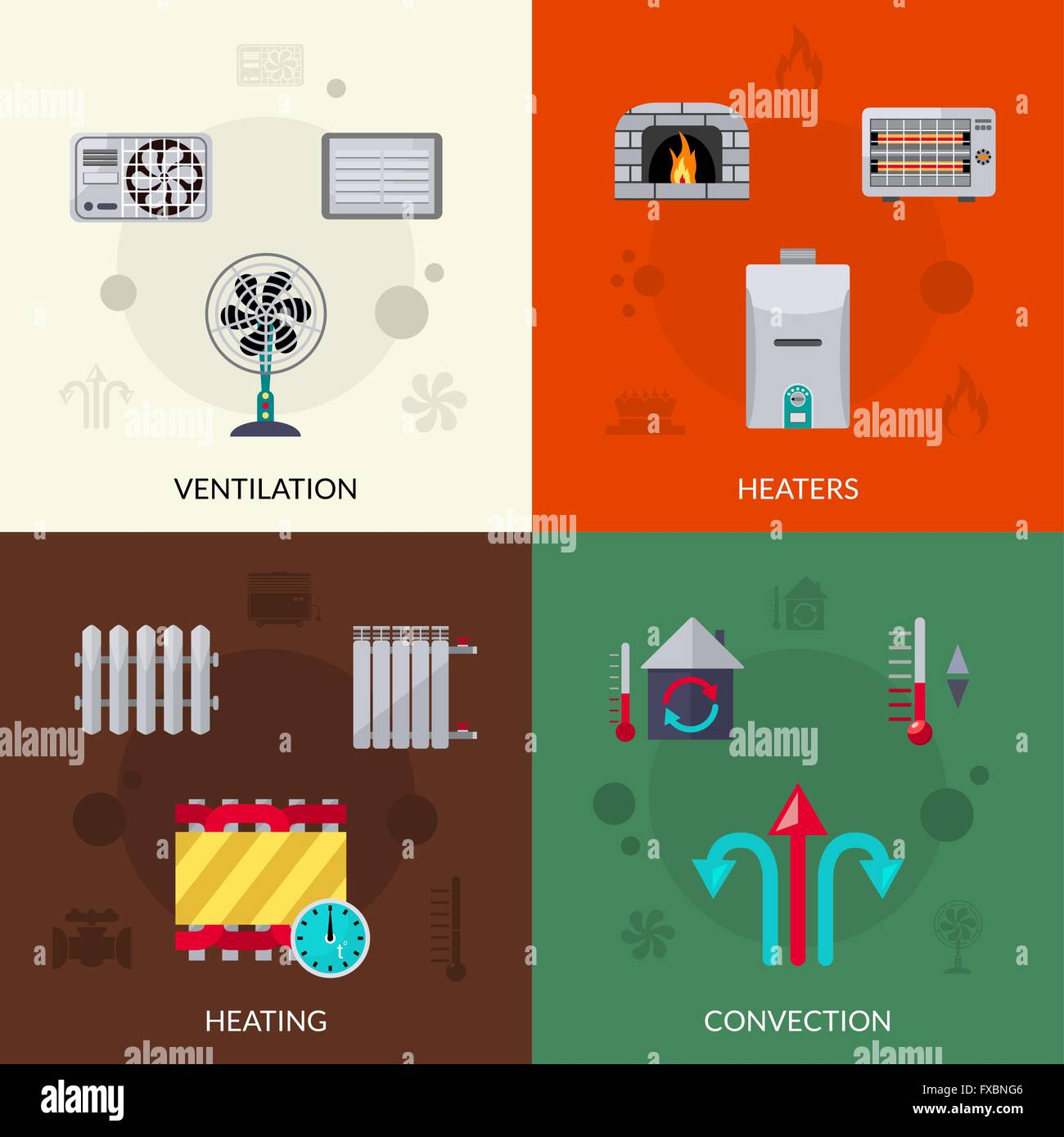 Heating Ventilation And Convection Icons Set Stock Vector