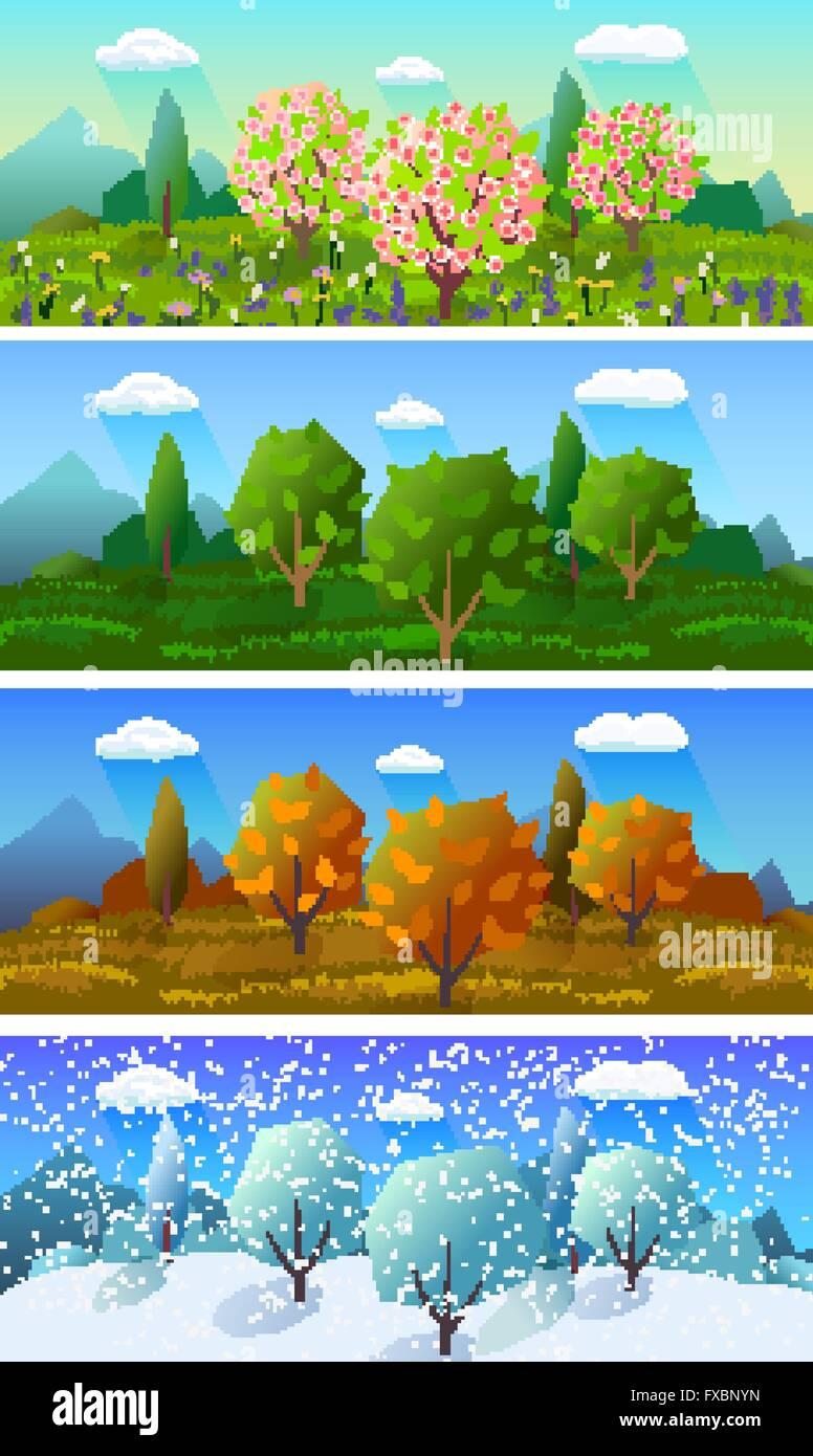Four seasons landscape banners set - Four Seasons Landscape Banners Set Stock Vector Art & Illustration