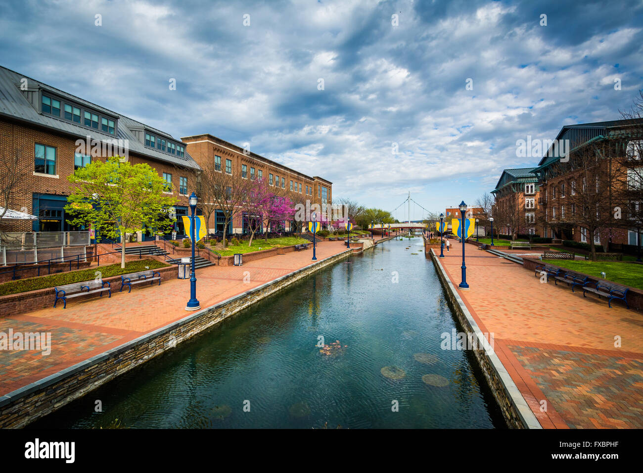 View of Carroll Creek, in Frederick, Maryland. - Stock Image