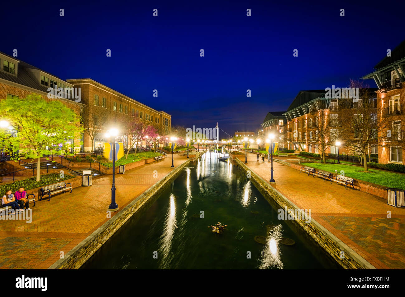 View of Carroll Creek at night, in Frederick, Maryland. - Stock Image