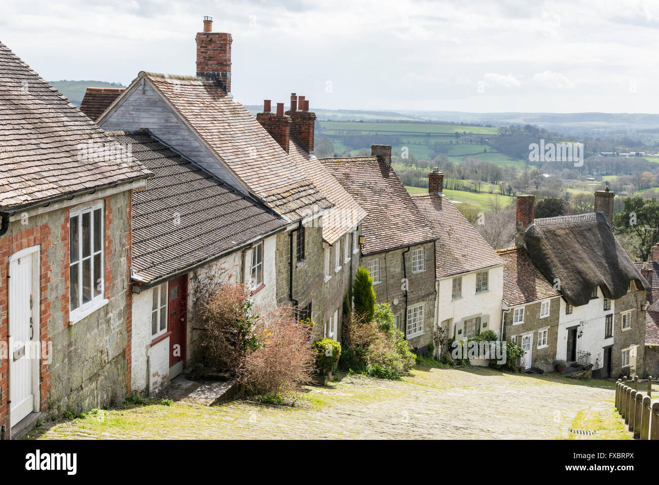 House on Gold Hill Shaftsbury Dorset UK, the Hovis Hill used for the 1970's Hovis Bread TV advert - Stock Image