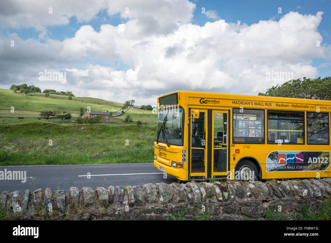The AD122 bus that runs between Hexham and Greenhead in the summer - Stock Image