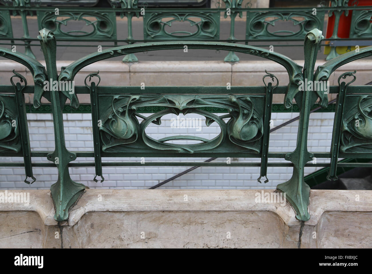 France. Paris. Entrance. Metro station. Detail. Iron. Art Nouveau. - Stock Image