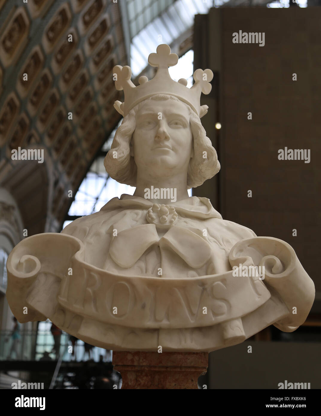 Charles V of France (1338-1380), The Wise. House of Valois. Bust by Emmanuel Fremiet (1824-1910). Orsay Museum. - Stock Image