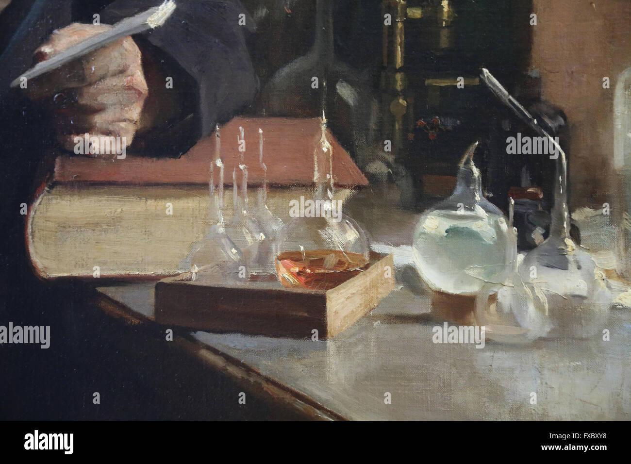 Louis Pasteur. Portrait, 1885 by painter Albert Edelfelt (1854-1905). Oil on canvas. Detail: Laboratory material. - Stock Image