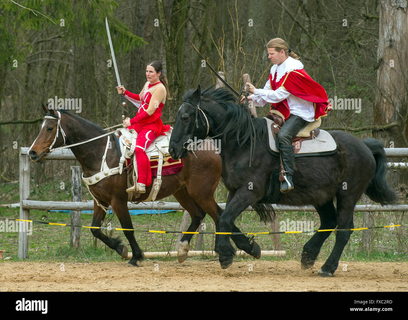 Muencheberg, Germany. 04th Apr, 2016. Stunt riders Christian Scholle-Prestin and his life partner Daja Ziefuss ride - Stock Image
