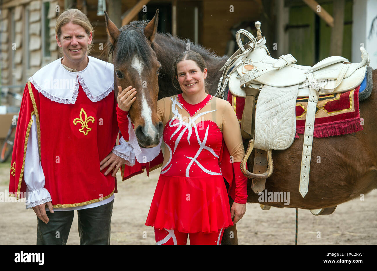 Muencheberg, Germany. 04th Apr, 2016. Stunt riders Christian Scholle-Prestin and his life partner Daja Ziefuss pose - Stock Image