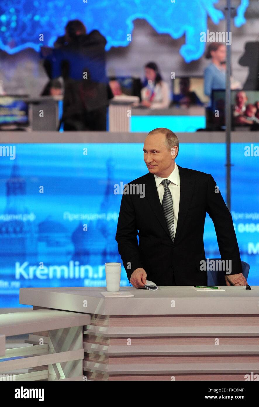 Moscow, Russia. 14th Apr, 2016. Russian President Vladimir Putin attends a televised question-and-answer session Stock Photo