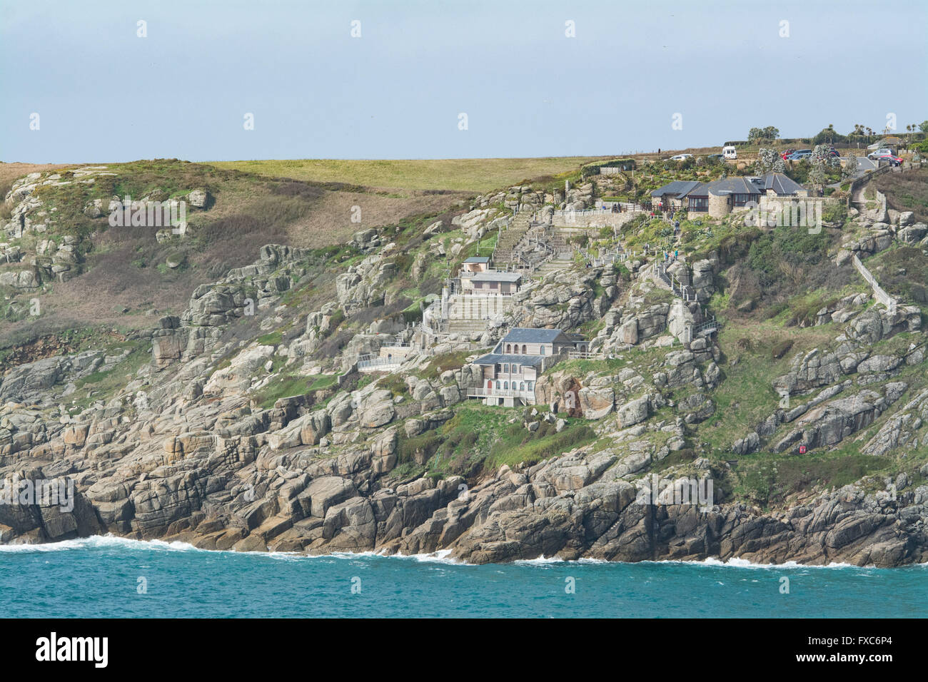 Treen, Cornwall, UK. 14th April 2016. UK Weather. Mild and sunny at Treen, near Porthcurno, however rain is forecast - Stock Image