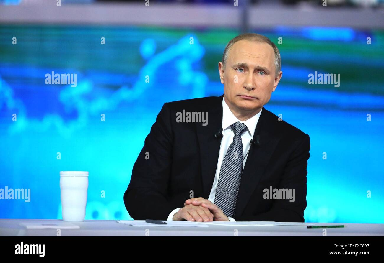 Moscow, Russia. 14th Apr, 2016. Russian President Vladimir Putin during his annual call-in show broadcast on live - Stock Image
