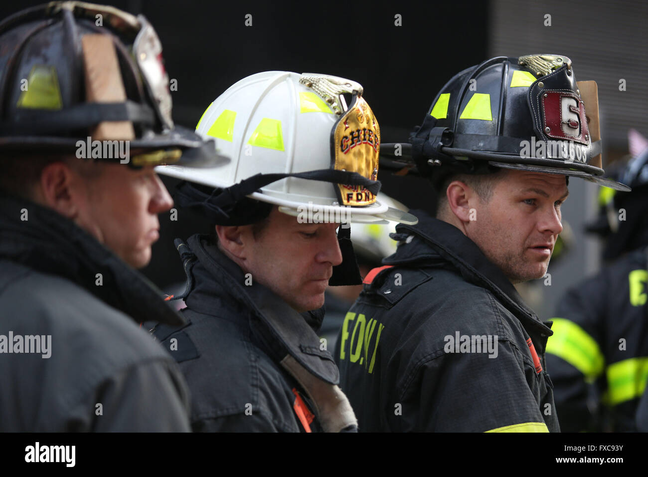 New York City, NY, USA. 13th Mar, 2016. FDNY firefighters prepare for their stair climb. 343 Firefighters from across - Stock Image