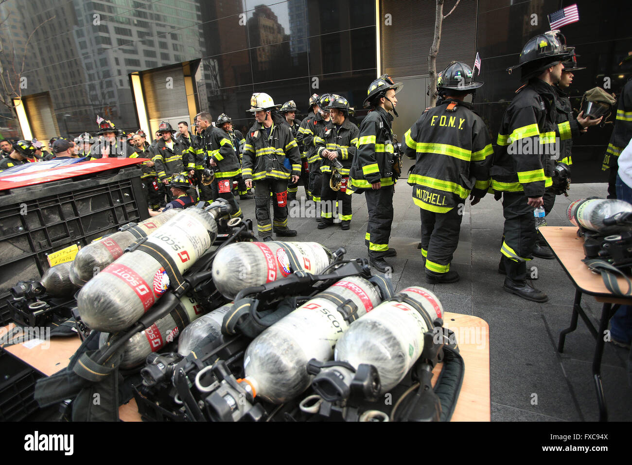 New York City, NY, USA. 13th Mar, 2016. FDNY firefighters prepare