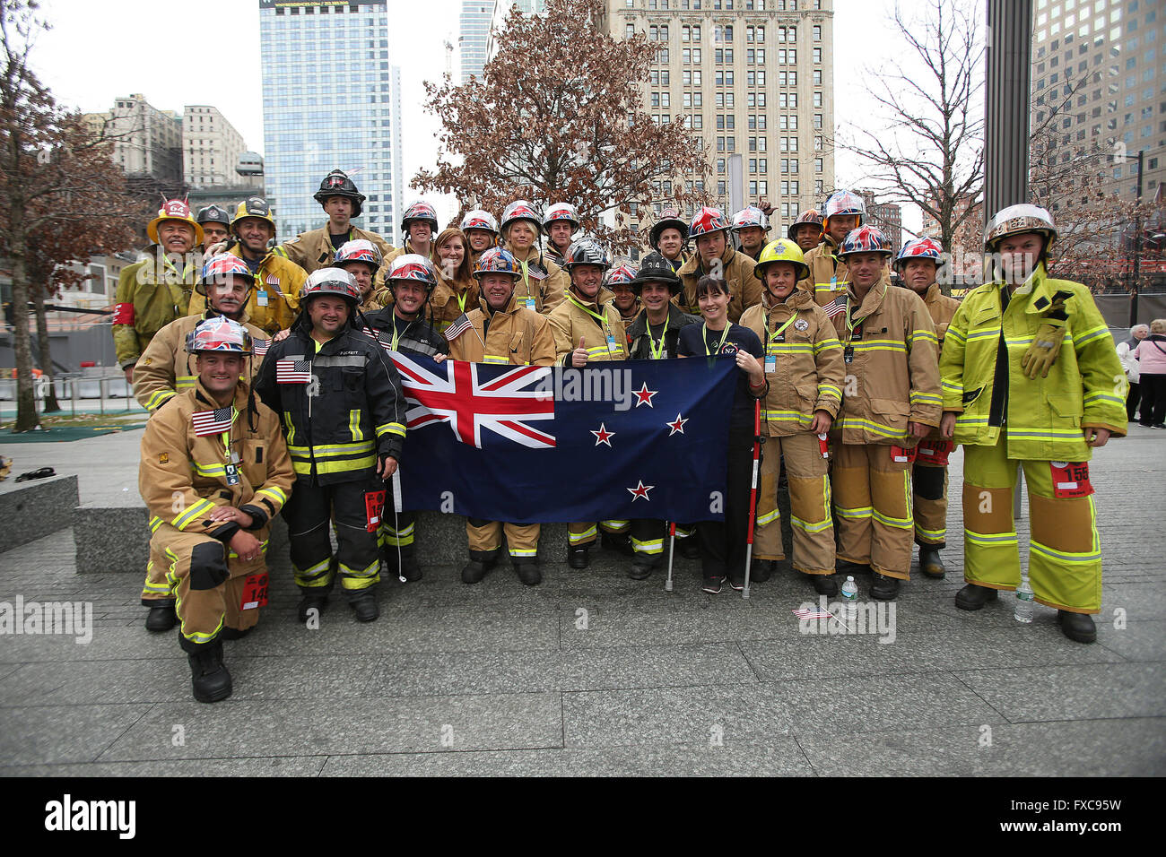 New York City, NY, USA. 13th Mar, 2016. 343 Firefighters from across the world gather to climb Four World Trade - Stock Image
