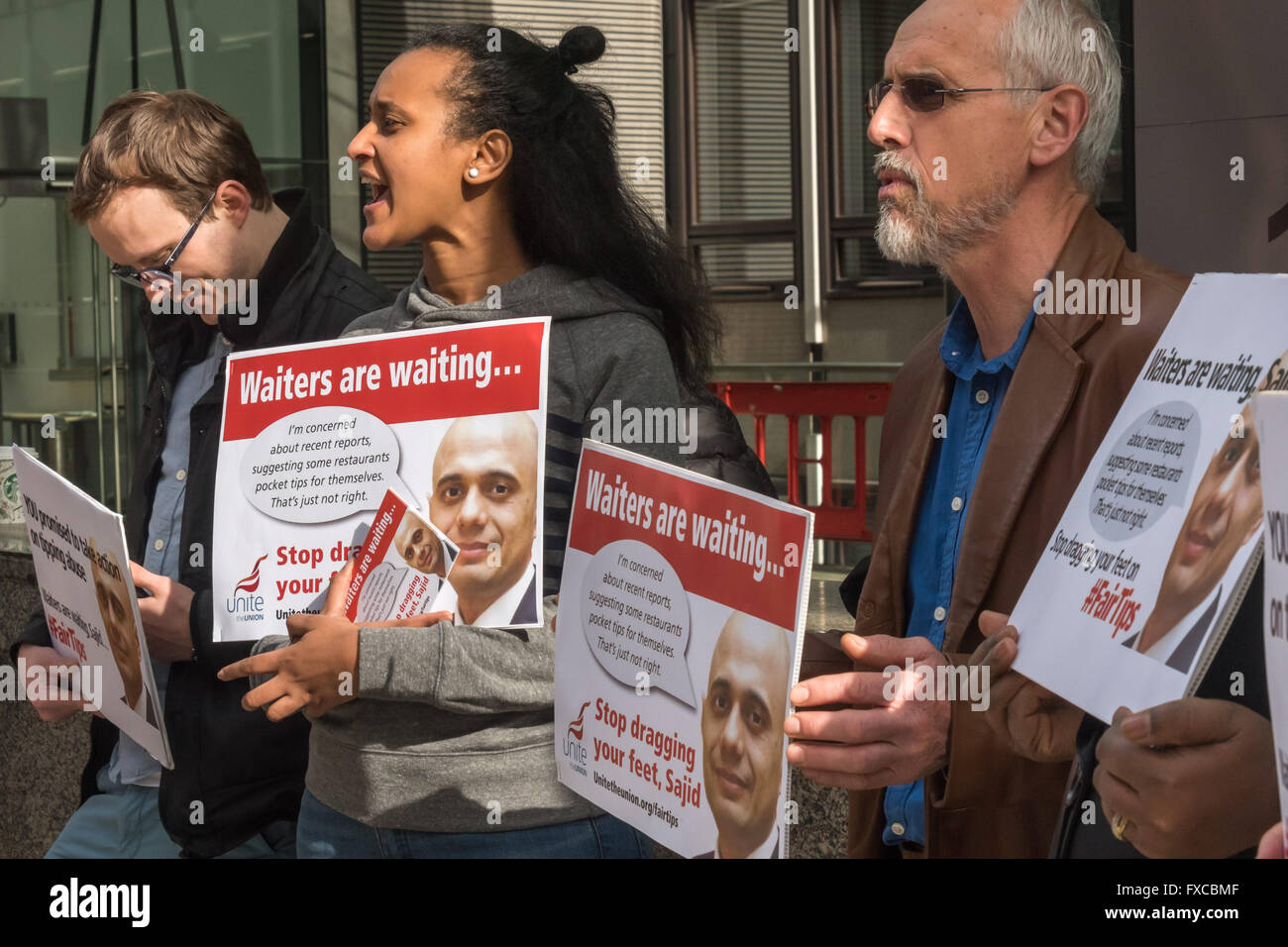 London, UK. 14th April, 2016. The Unite Hotel Workers Branch protest at the Dept of Business, Innovation & Skills - Stock Image
