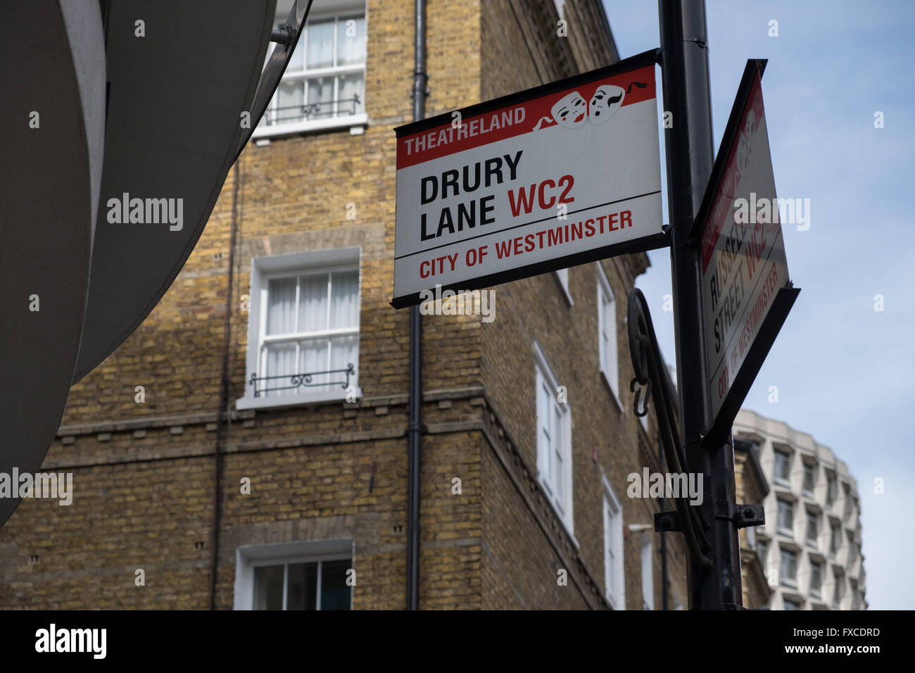 Drury Lane 'Theatreland' sign in London, England - Stock Image