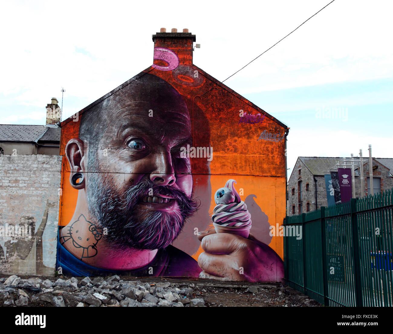 surreal graffiti by Smug - Stock Image